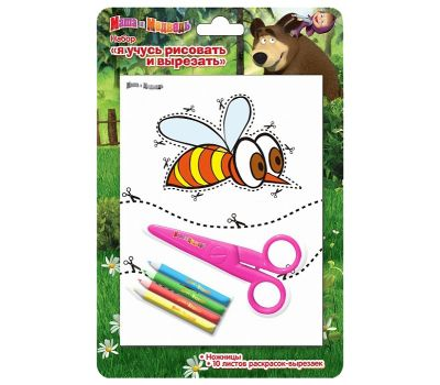 """Набор """"Маша и медведь. Пчелка"""" из серии """"Я учусь рисовать и вырезать"""""""