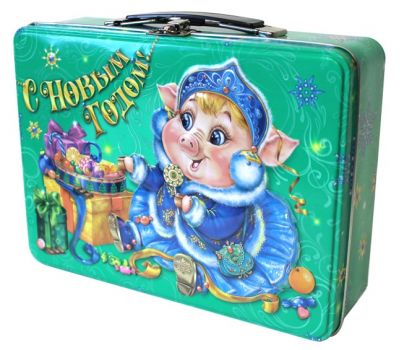 """Новогодняя упаковка  900 г """"Чемоданчик """"Сладкоежка"""""""