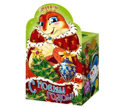 """Новогодняя упаковка из картона """"Змея-королева (в шубе)"""""""