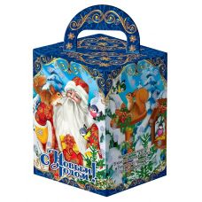 "Новогодний подарок  300 г ""Дед Мороз и Снегурочка с кормушкой"""