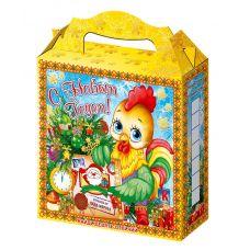 """Новогодняя упаковка из картона """"Петушок с посылкой"""""""