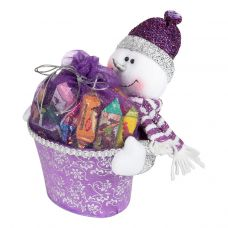 """Новогодняя упаковка  850 г """"Снеговик с подарком сиреневый"""""""