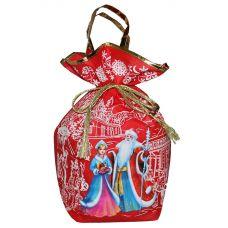 """Новогодний подарок 1500 г """"Мешочек с двумя ручками """"Дед Мороз и Снегурочка"""" красный большой"""""""